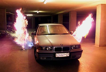 The BMW Flamethrower, a flame thrower car.