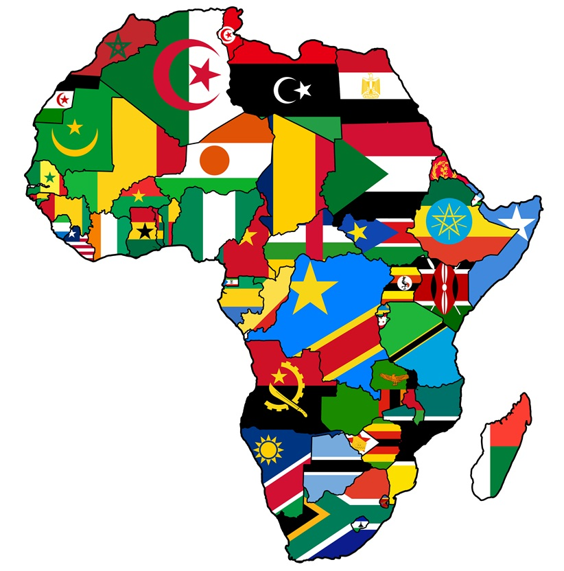 Image of Africa with African flags
