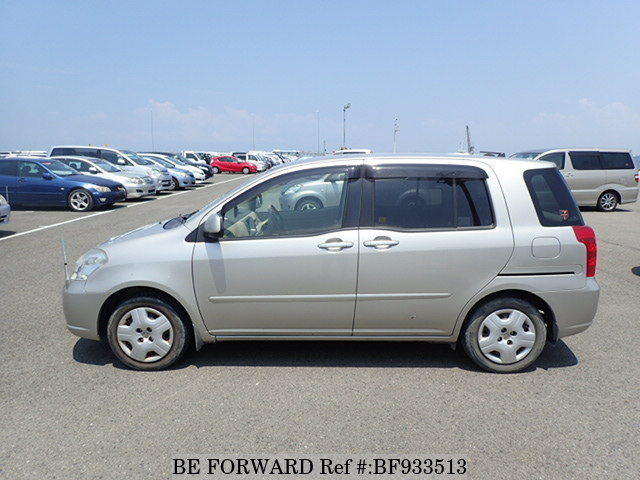 The side view of a used 2004 Toyota RAUM from online used car exporter BE FORWARD.