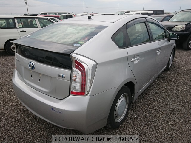 The rear of a used 2013 Toyota Prius from online used Japanese cars exporter BE FORWARD.