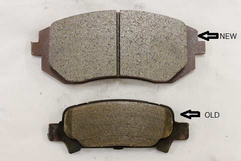 An example of new and old brake pads.