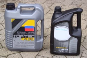 Two bottles of synthetic motor oil.