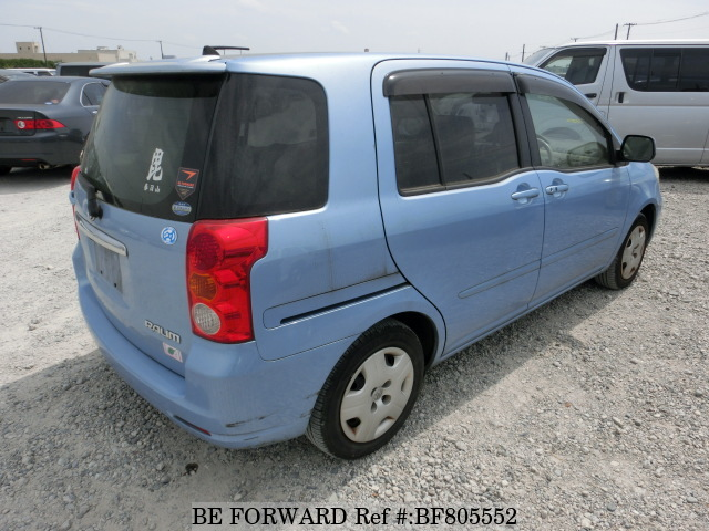 The rear of a used 2003 Toyota Raum from online used car exporter BE FORWARD.