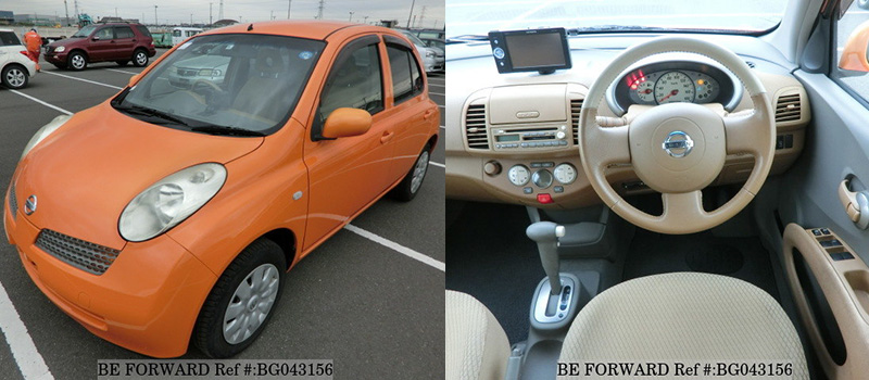 interior and exterior of a used low cost nissan march
