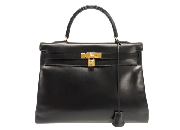 Hermes HERMES Kelly 35 Box Calf Square A Engraved Black Y1530717