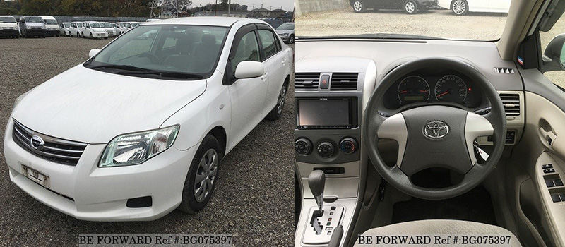 interior and exterior of a used toyota corolla axio from be forward
