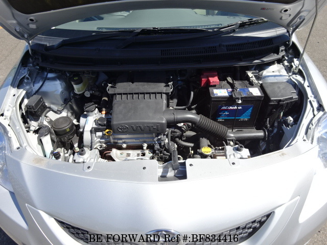 The engine of a used 2010 Toyota Belta from online used car exporter BE FORWARD.