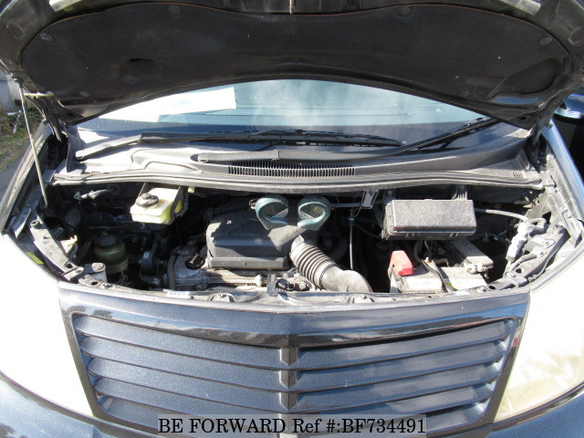Engine of a used 2003 Toyota Alphard from used car dealer BE FORWARD.