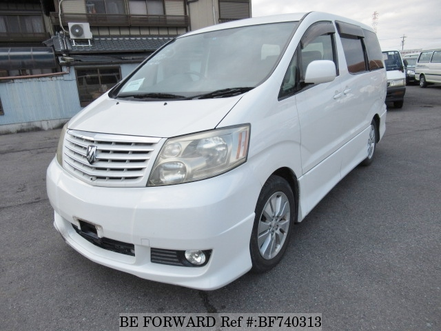 The front of a used 2003 Toyota Alphard from used car dealer BE FORWARD.