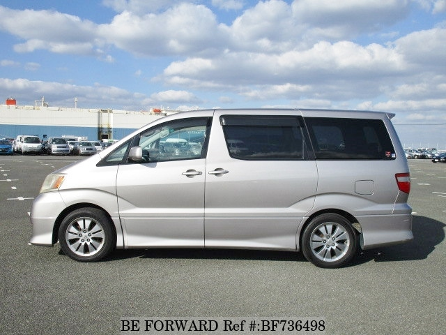 Side of a used 2004 Toyota Alphard from used car dealer BE FORWARD.