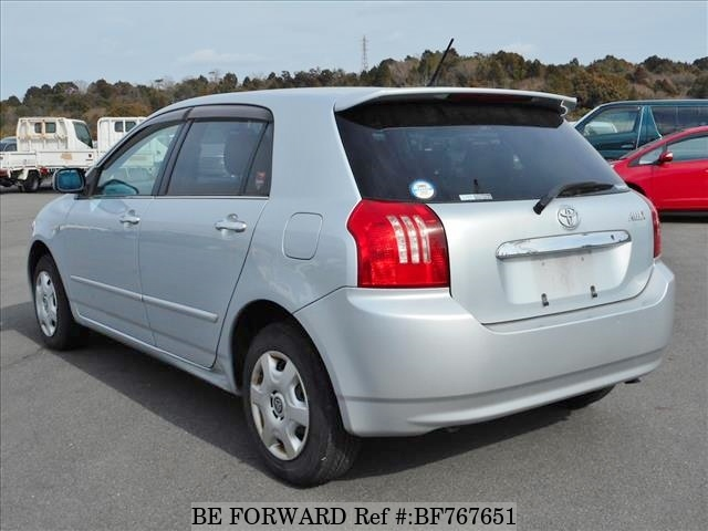 The rear of a used 2003 Toyota Allex from online car exporter BE FORWARD.