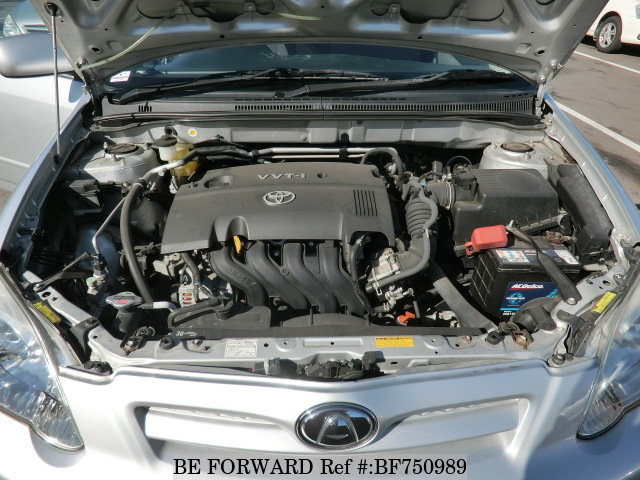 The engine of a used 2005 Toyota Allex from online car exporter BE FORWARD.