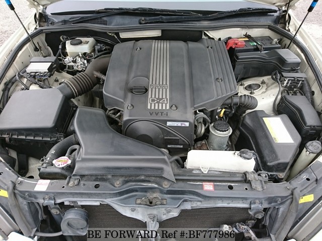 The engine of a used 2004 Toyota Brevis from online car exporter BE FORWARD