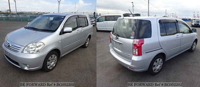 front and back exterior of used toyota raum from BE FORWARD
