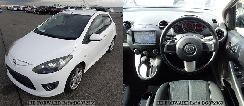 interior and exterior of a used mazda demio under $500