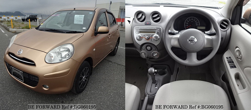 interior and exterior of a used nissan march under $500 from BE FORWARD