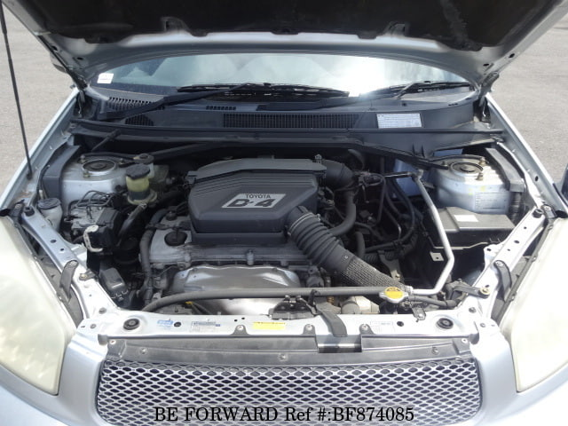 The engine of a used 2000 Toyota RAV4 from online used car exporter BE FORWARD.