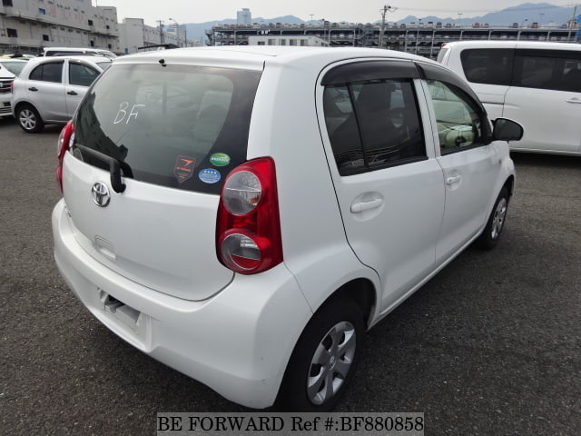 The rear of a used 2013 Toyota Passo from online used car exporter BE FORWARD.