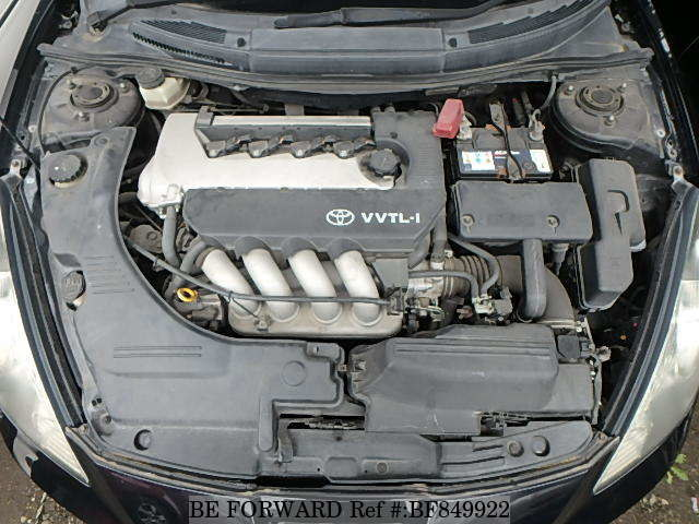 The engine of a used 2001 Toyota Celica from online used car exporter BE FORWARD.