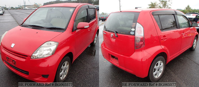 front and back of a red used toyota passo low cost fuel efficient hatchback from BE FORWARD
